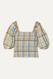 GANNI Shirred checked cotton-poplin top