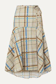 GANNI Tiered checked cotton-poplin wrap skirt
