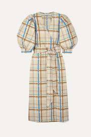Checked cotton-poplin wrap dress