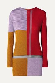 Color-block metallic crochet-knit sweater