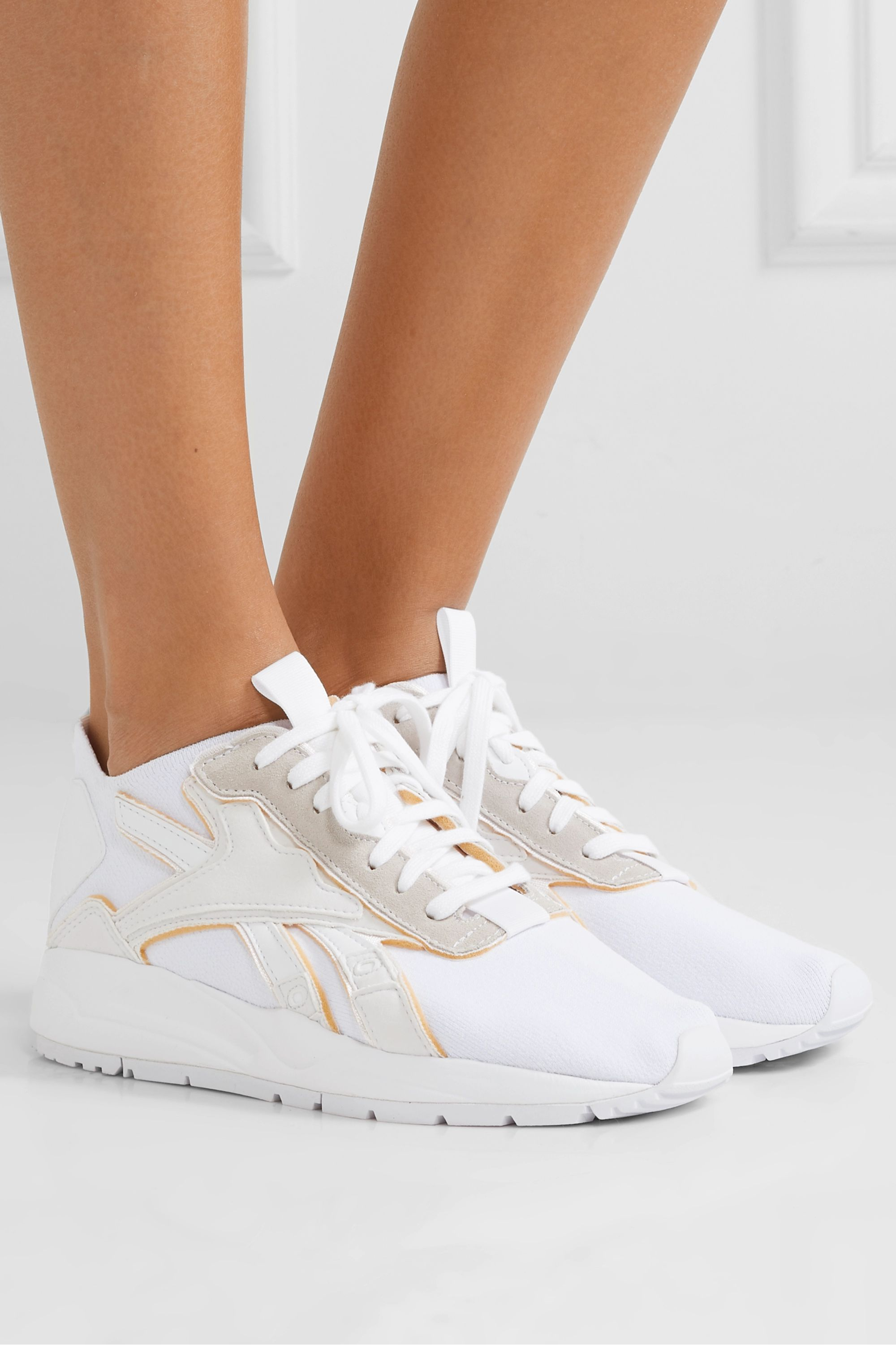 White Bolton stretch-knit, leather and