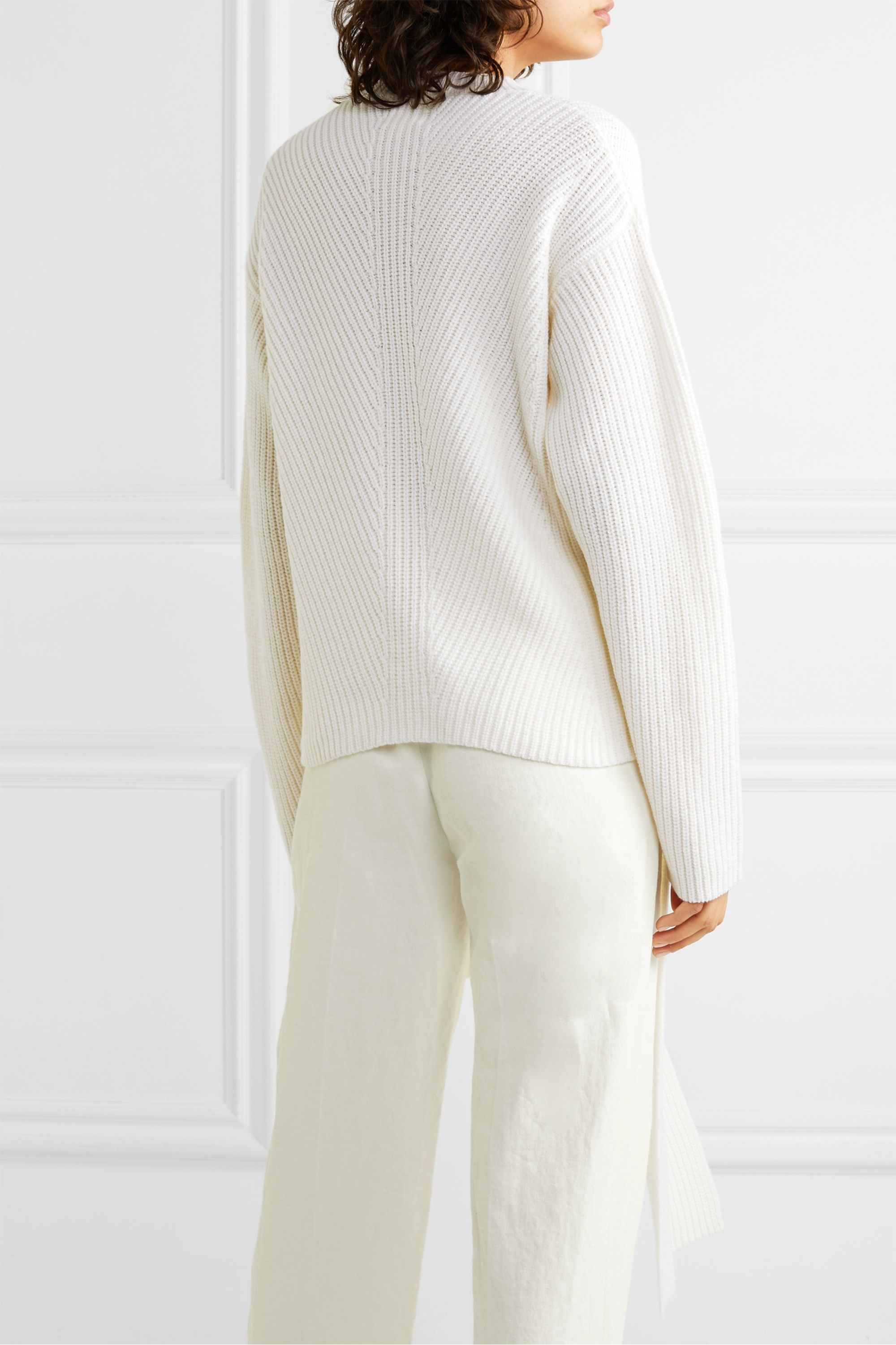 LOULOU STUDIO Tie-detailed ribbed wool and cashmere-blend sweater