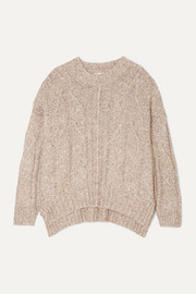 LOULOU STUDIO Oversized cable-knit mélange cotton-blend sweater