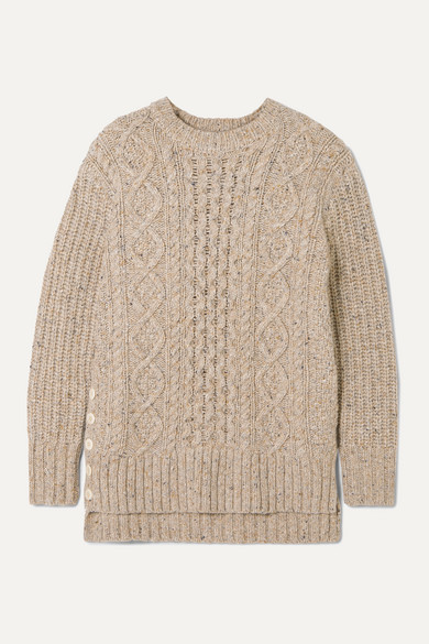 Alex Mill Button-embellished cable-knit merino wool-blend sweater