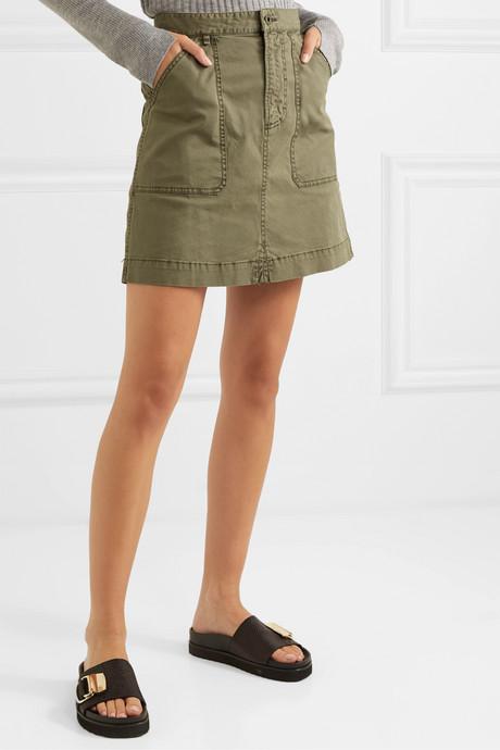 Cotton-blend twill mini skirt