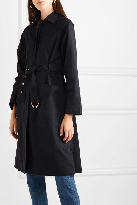 Channel belted cotton-blend gabardine trench coat