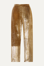 Mes Demoiselles Holmes cropped metallic velvet straight-leg pants