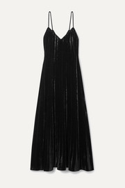Mes Demoiselles Maureen pleated velvet maxi dress