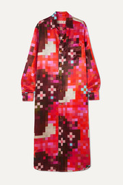 Marni Printed satin midi dress