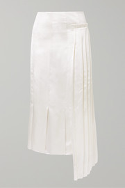 Marni Pleated asymmetric satin midi skirt