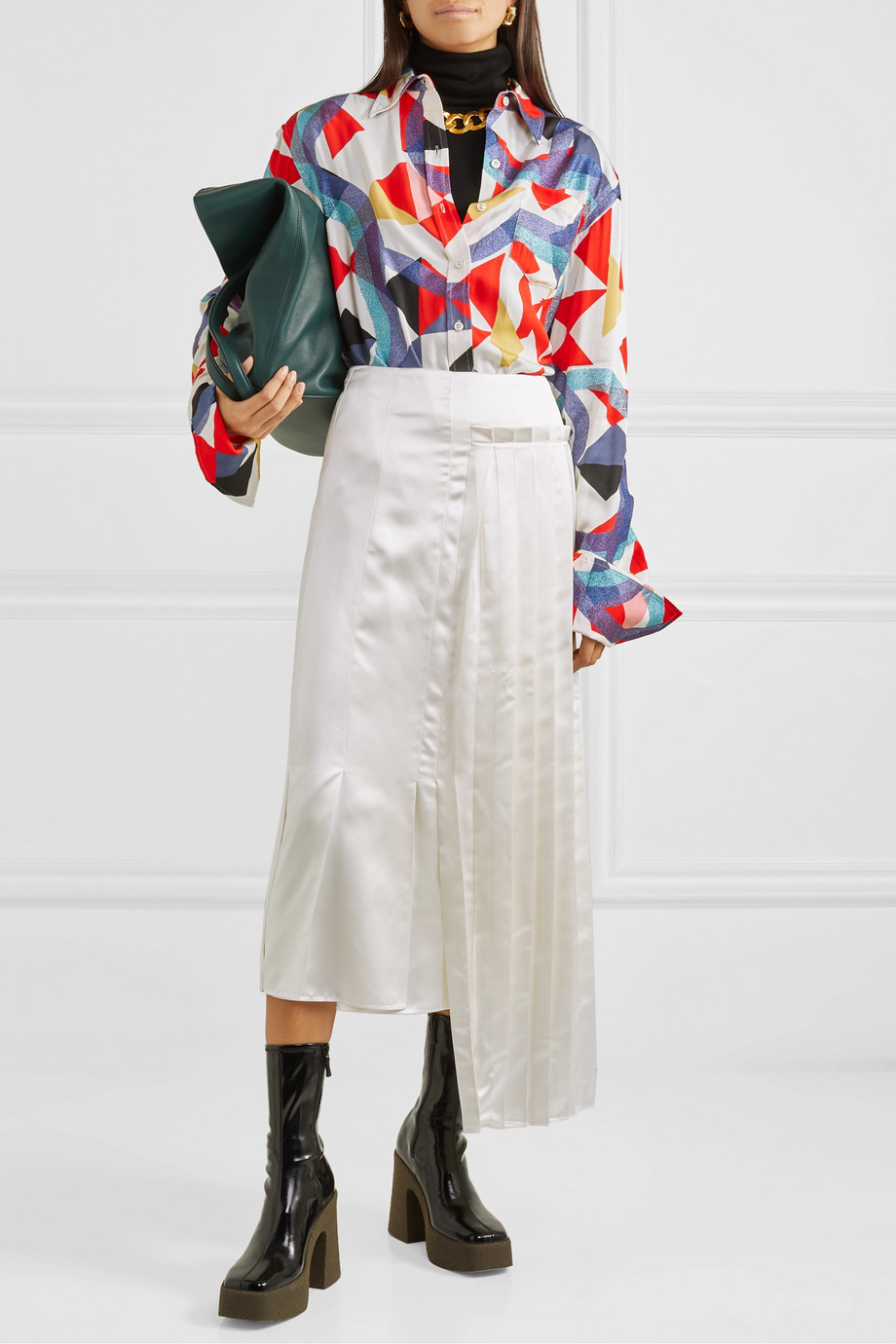 Marni Pleated asymmetric satin midi skirt