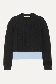 Marni Two-tone cable-knit sweater