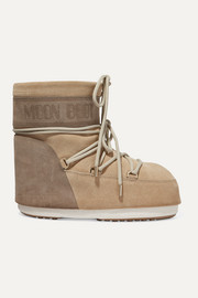 Coated-suede snow boots