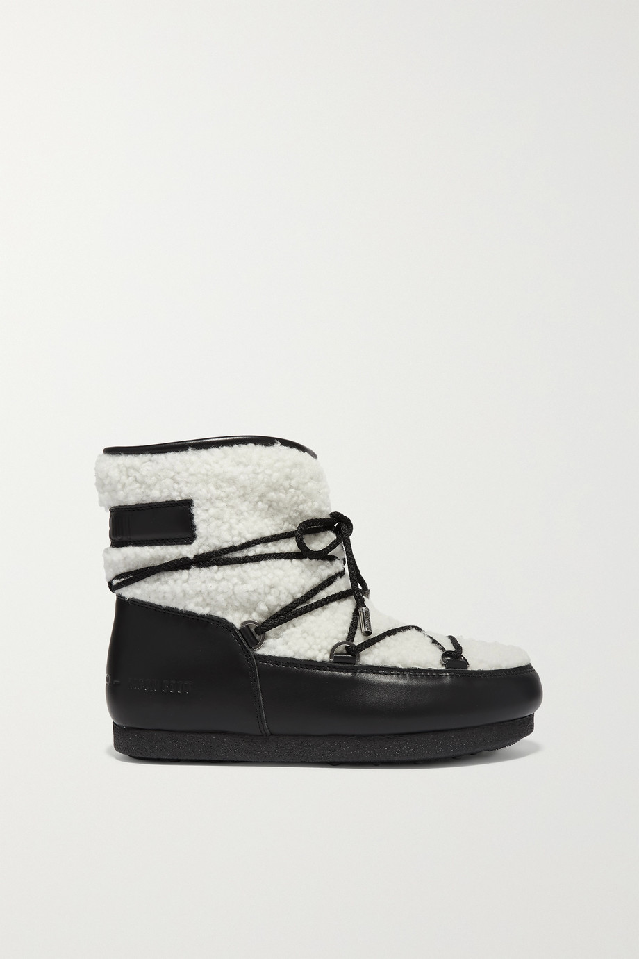 Moon Boot Far Side two-tone leather and shearling ankle boots