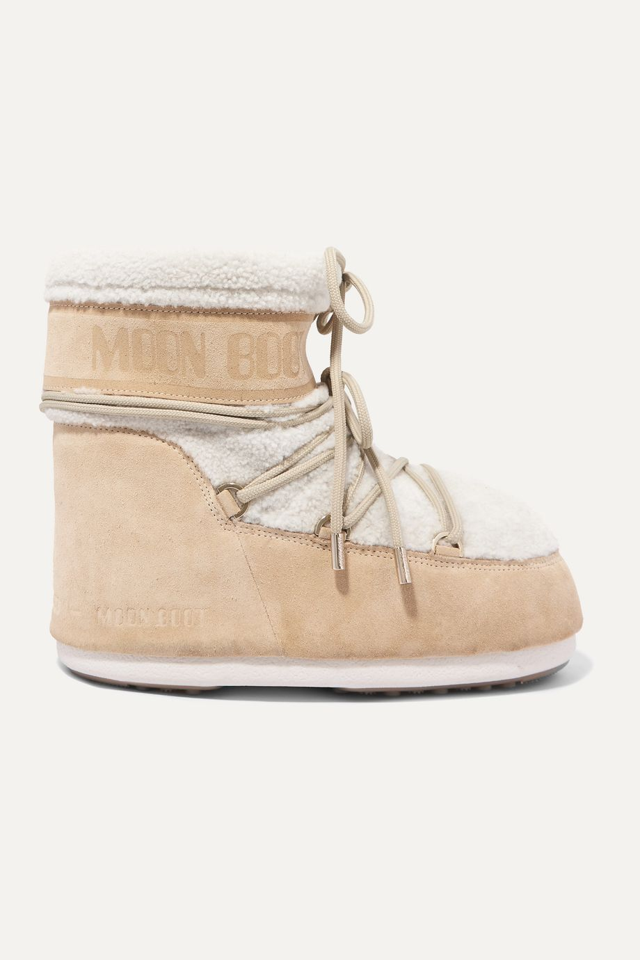 Moon Boot Shearling and coated-suede snow boots