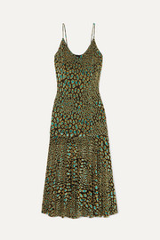 Caroline Constas Kai metallic leopard-print fil coupé stretch-jersey midi dress