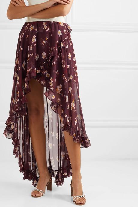 Adelle asymmetric floral-print silk-chiffon skirt