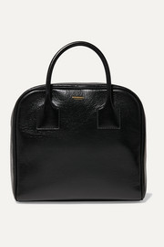 Glossed textured-leather tote