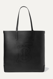 Debossed textured-leather tote
