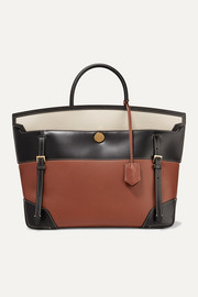 Burberry Buckle-embellished canvas and leather tote