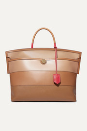 Smooth and textured-leather tote