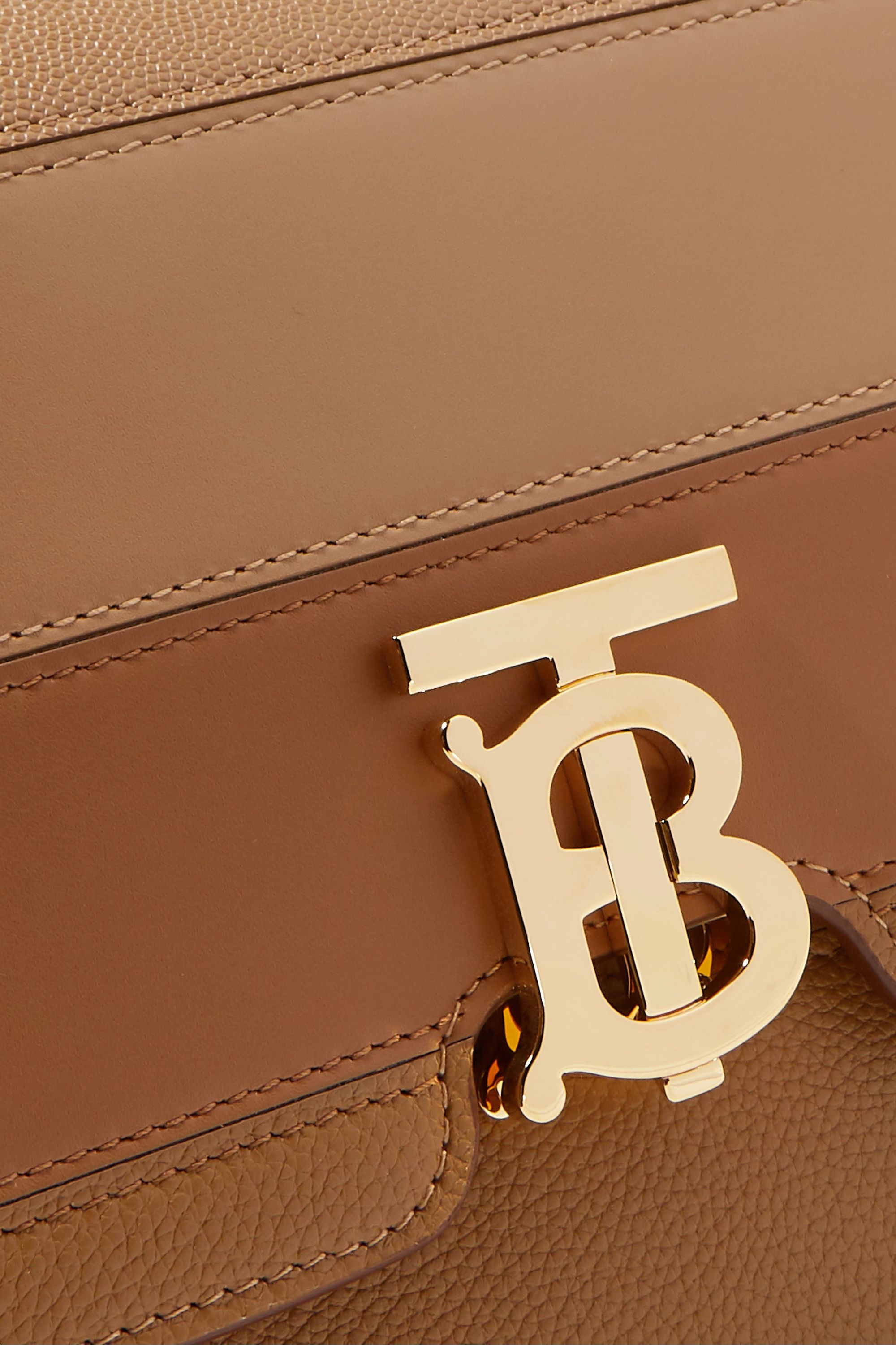 Burberry Medium paneled smooth and textured-leather shoulder bag