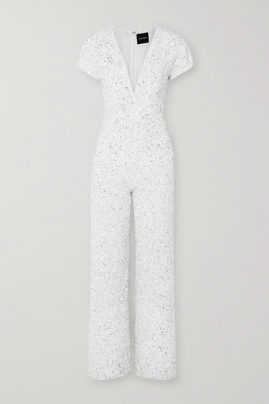 Retrofête Elise wrap-effect sequined georgette jumpsuit