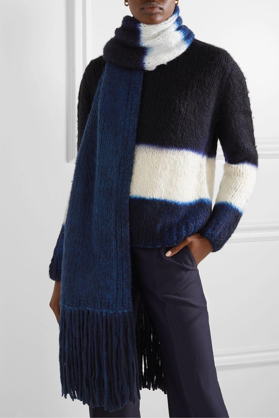 Gabriela Hearst Fringed tie-dyed cashmere scarf