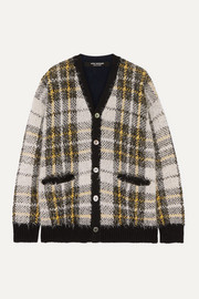 Oversized checked wool-blend cardigan