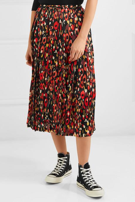 Pleated printed silk-satin midi skirt