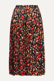 Junya Watanabe Pleated printed silk-satin midi skirt
