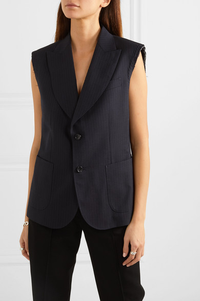 Distressed Striped Herringbone Wool Vest by Junya Watanabe