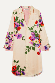 Layered floral-print silk-jacquard and wool-jersey dress