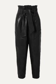 IRO Bahio belted leather tapered pants