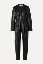 IRO Madryn belted leather jumpsuit