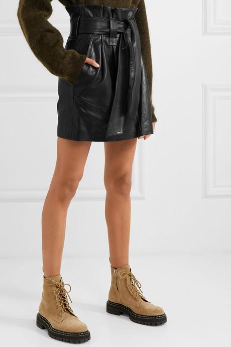 Bolsy belted leather mini skirt