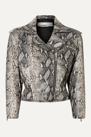 IRO Perrio cropped snake-effect leather biker jacket