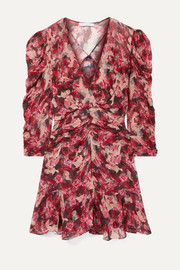 IRO Wick wrap-effect ruched floral-print crepon mini dress