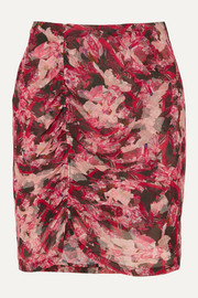 IRO Thorn ruched floral-print crepon mini skirt