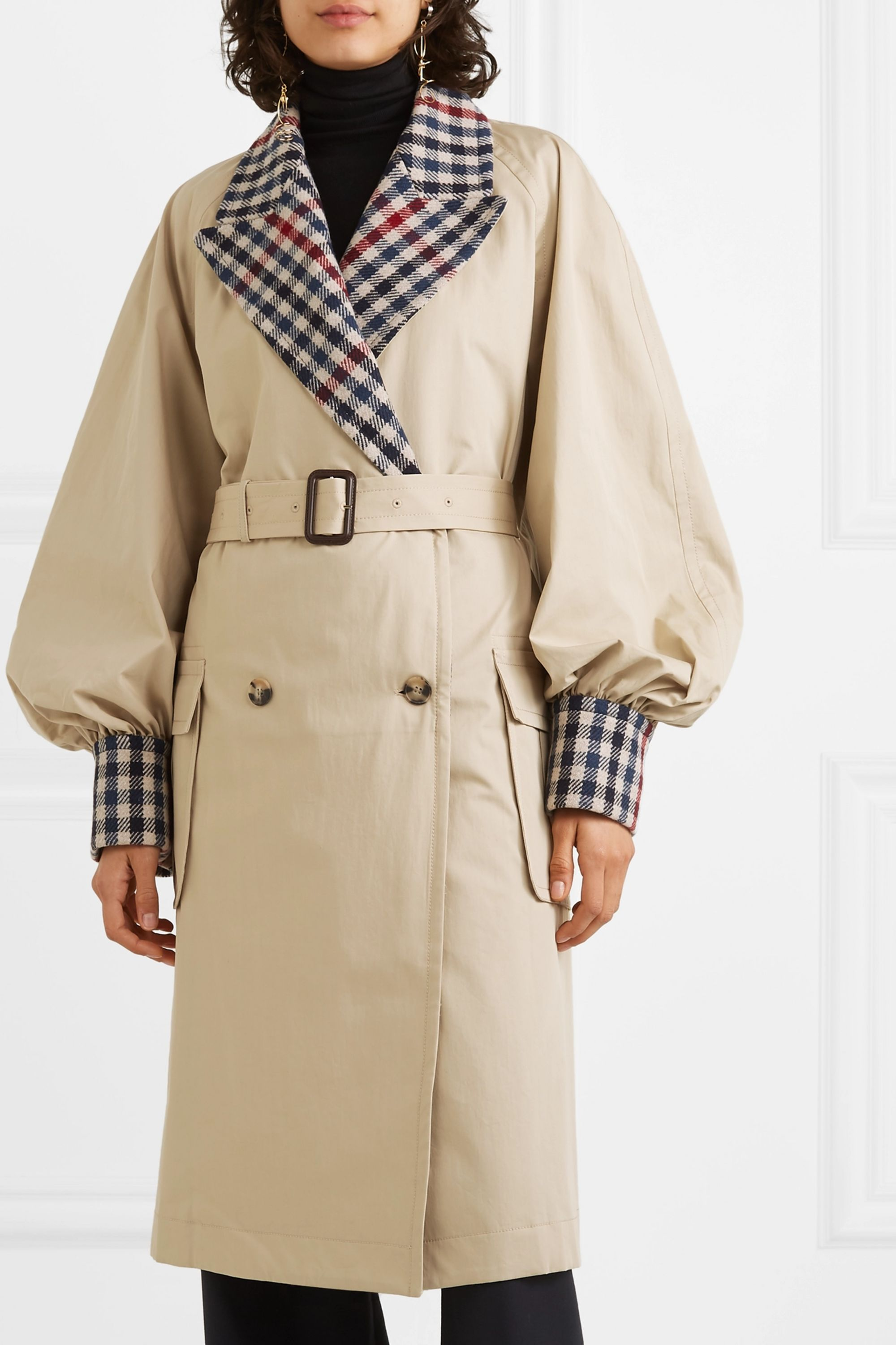 JW Anderson Belted checked wool-blend and cotton-gabardine trench coat
