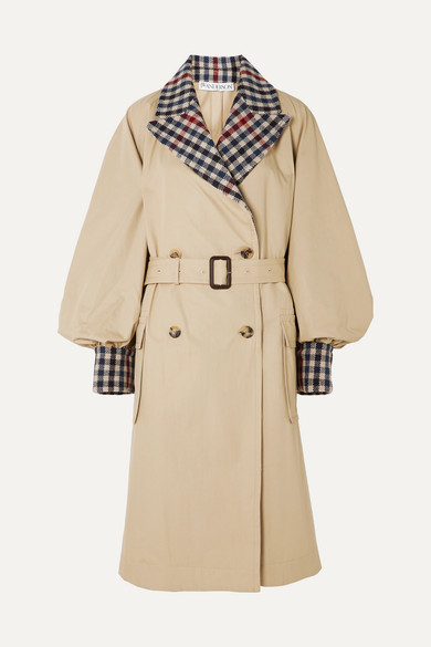 J.w.anderson BELTED CHECKED WOOL-BLEND AND COTTON-GABARDINE TRENCH COAT