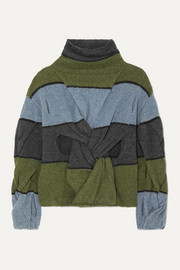 JW Anderson Cutout twisted striped wool turtleneck sweater