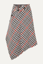 JW Anderson Asymmetric checked wool-blend midi skirt