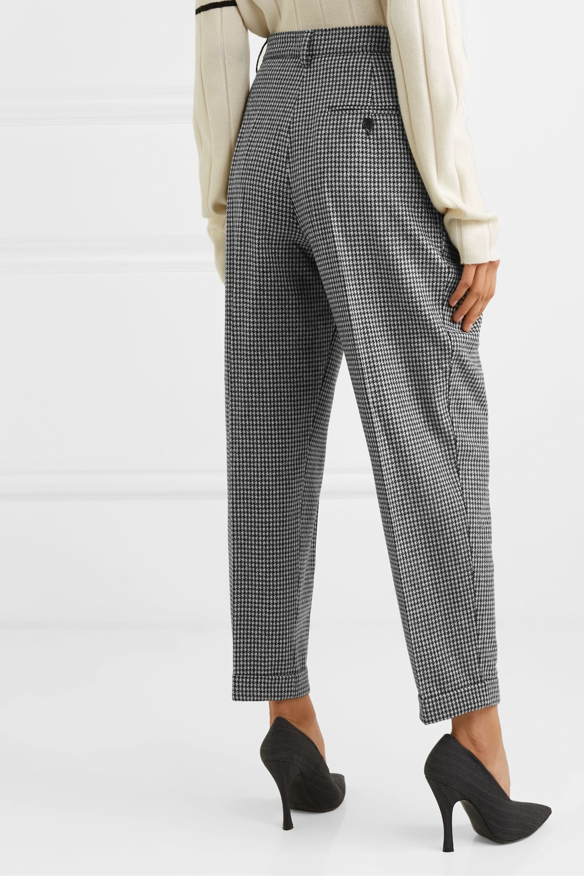 JW Anderson Pleated houndstooth wool-blend tapered pants