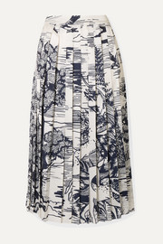 Pleated printed satin midi skirt