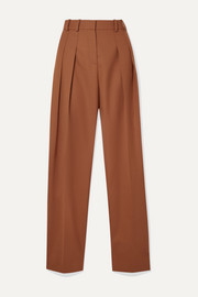 Victoria, Victoria Beckham Pleated woven straight-leg pants
