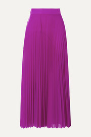 Pleated satin-trimmed jersey midi skirt