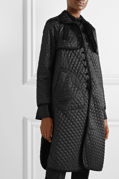 Quilted canvas-trimmed houndstooth satin-jacquard coat