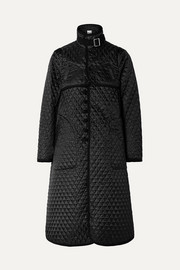 Noir Kei Ninomiya Quilted canvas-trimmed houndstooth satin-jacquard coat