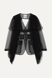 Open-back belted tulle jacket